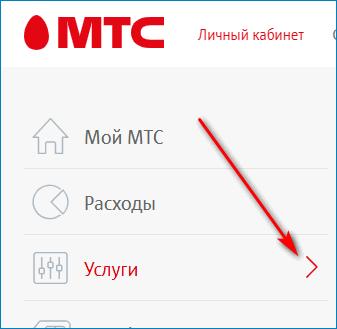 Вкладка Услуги в ЛК МТС